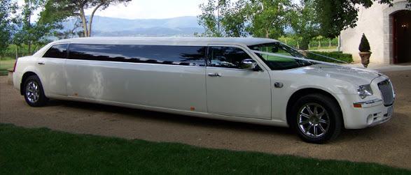 white Chrysler stretch limo